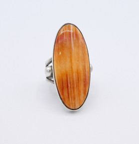 Orange spiny oyster shell and silver contemporary Navajo ring