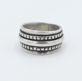 Julian Lovato  1925 - 2018 silver stamped band.