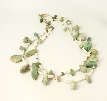 Old  green turquoise nugget and cream heishi necklace