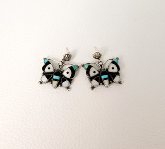 Vintage Zuni inlay butterly earrings with buttons