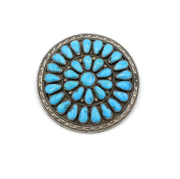 Vintage turquoise and silver cluster  pin