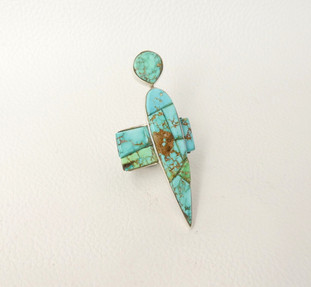 Pascua Yaqui artist Na Na Ping - coble stone turquoise inlay figurative, silver ring