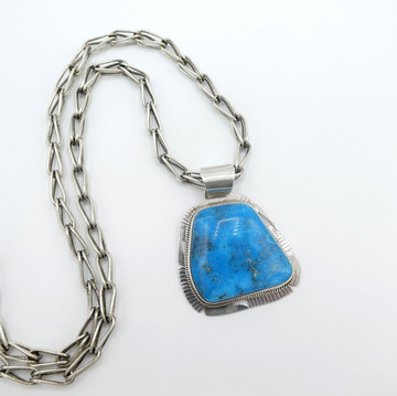 Large, Kingman Turquoise,  Navajo pendant with silver chain