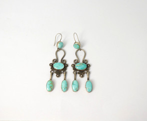 Navajo artist Fritson Toledo - contemporary turquoise and silver earrings