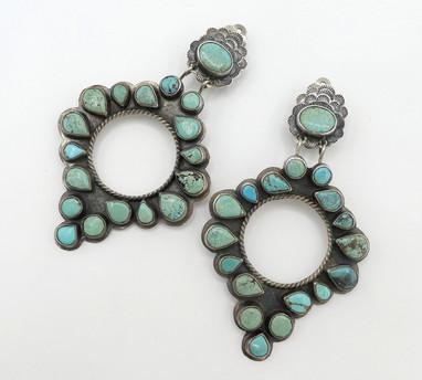 Fabulous large but light wearing turquoise, silver earrings by Oscar Betz
