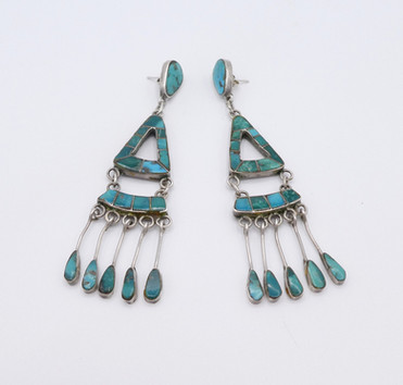 Ex Sharon Aberle collection, early Zuni channel inlay earrings with fabulous turquoise.