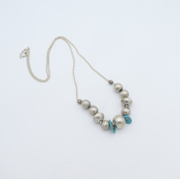 N14 Silver beads and turquoise tabs neclace