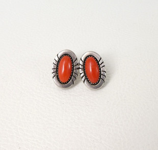 Vintage Navajo coral and silver earrings
