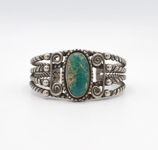 Vintage Navajo silver twist wire and green turquoise silver wide cuff