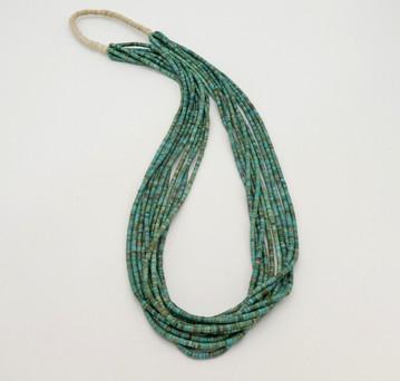 Contemporary heishi ten strand turquoise heishi