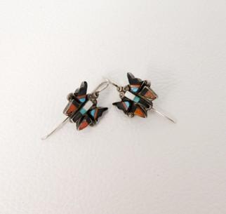 Vintage Zuni inlay butterfly earrings