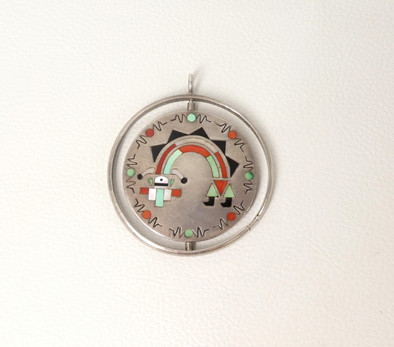 1970's Zuni silver spinner pendant with Rainbow dancer inlaid