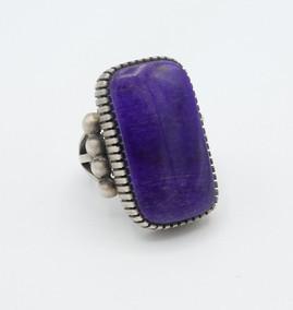 Contemporary Navajo silver and purple sugilite ring.