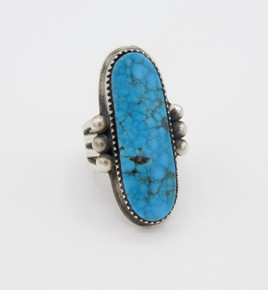 Mike Bird Romero  turquoise and silver ring with stamping