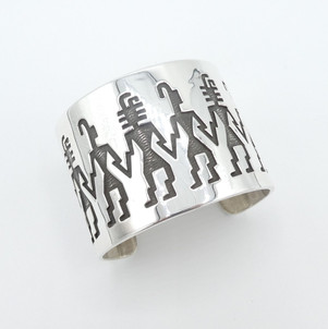 Amazing wide silver Hopi overlay cuff.