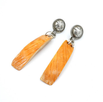Vintage Navajo button earrings with orange spiny oyster shell
