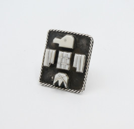 Vintage Zuni channel inlay shell and silver thunderbird ring