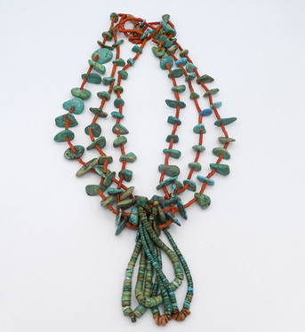 Early pueblo turquoise tab and coral necklace