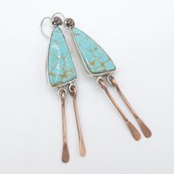 E16 Nevada Turquoise earrings wih copper dangles