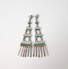 Lovely long chandelier turquoise articulated earrings