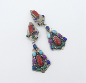Amazing vintage Navajo multi coloured vintage Navajo earrings