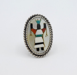 Vintage Zuni Apache Gan dancer set in silver ring