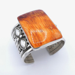 C11 Orange spiny oyster shell and silver wide cuff