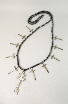32 inch silver bead neckalce  with crosses by Fritson Toledo