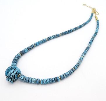 Piki Wadsworth  highgrade Kingman turquoise heishi with 18ct gold detail