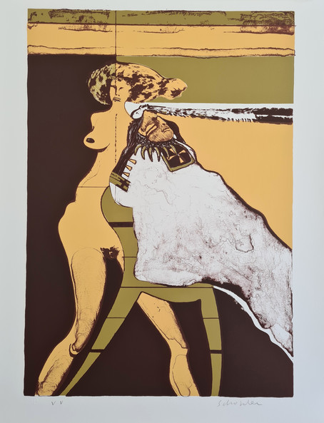 """""""Indian with Woman"""" by Fritz Scholder        VV, 1971. Size 30H"""" x 22W"""" 762H x 559Wmm"""