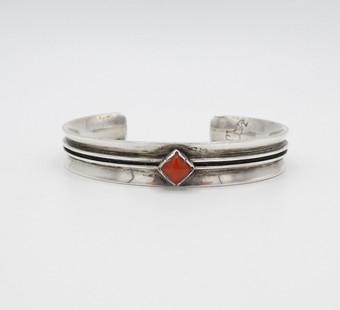 Vintage Navajo silver and central diamond coral cuff