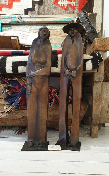 Bronze figures by Bill Prokopiof 'Rosie and the Night Singer'