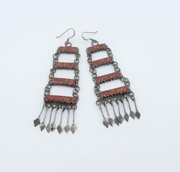 Fine Zuni coral and silver chandelier earrings.