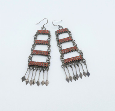 Fine Zuni coral and silver chandelier earrings.