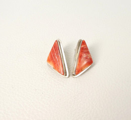 Contemporary Navajo orange spiny oyster shell and silver triangular earrings
