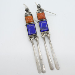 E3 Silver with Coral and lapis earrings