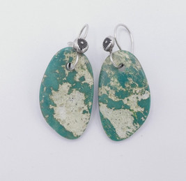 Soft green turquoise tabs with silver hooks by Piki Wadsworth.