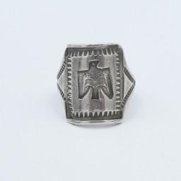 Petite silver stamped thunderbird ring