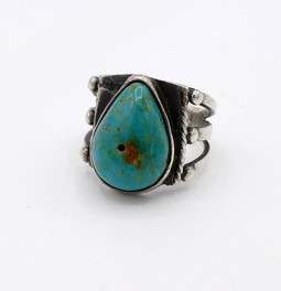 Vintage Navajo high set domed green turquoise and silver ring.