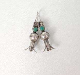Vintage Navajo squash blossom silver earrings with turquoise