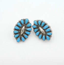 Turquoise cluster and silver Zuni contemporary earrings