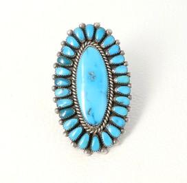 Large Vintage Zuni turquoise cluster ring set in silver
