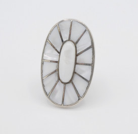 Large silver and mother of pearl channel inlay ring