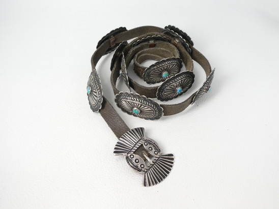 1920's ingot conch belt set with turquoiuoise