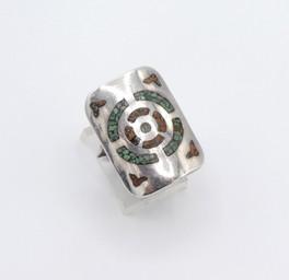 Zuni chip inlay silver shield ring