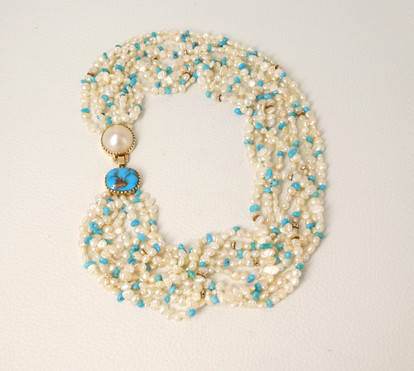 Gail Bird and Yazzie Johnson  fresh water pearl with turquoise and 18k gold necklace