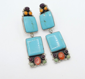Contemporary Navajo turquoise and multi stone set in silver earrings