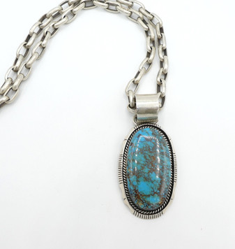 Fabulous handmade contemporary Navajo large spiderweb turquoise and silver pendant