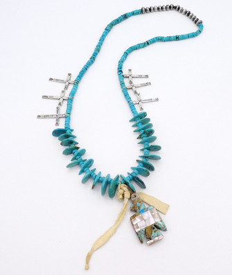 Mike Bird-Romero fetish, turquoise with silver crosses necklace.