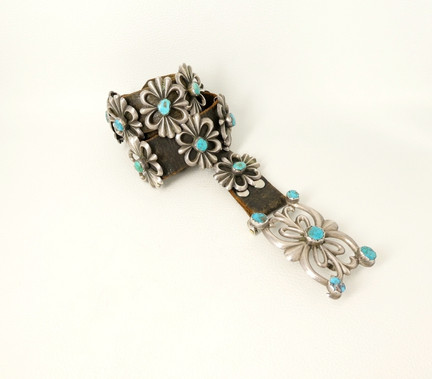 Vintage Navajo sandcast silver and turquoise belt with fifteen conchos